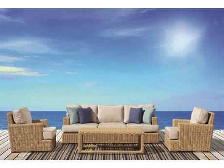 Sunset West Leucadia Wicker Sofa with Club Chairs and Coffee Table