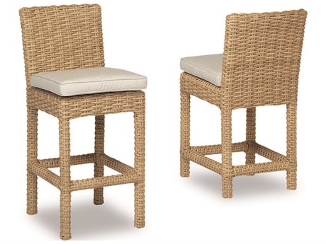 Sunset West Quick Ship Leucadia Wicker Bar Stool in Canvas Flax with Self Welt