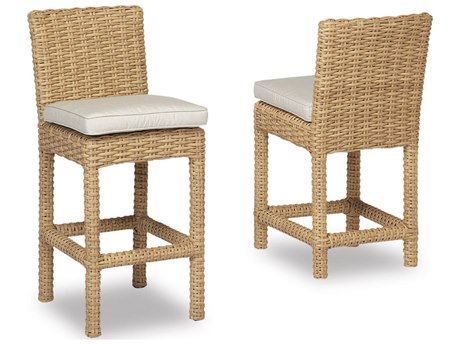Sunset West Quick Ship Leucadia Wicker Counter Stool in Canvas Flax with Self Welt
