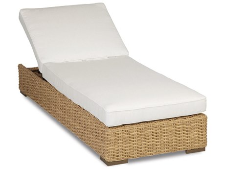 Sunset West Quick Ship Leucadia Wicker Chaise Lounge in Canvas Flax with Self Welt