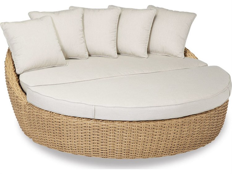 Sunset West Quick Ship Leucadia Wicker Round Daybed in Canvas Flax with Self Welt