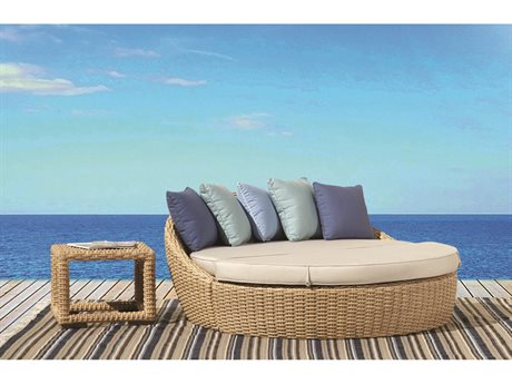 Sunset West Quick Ship Leucadia Wicker Round Daybed with End Table