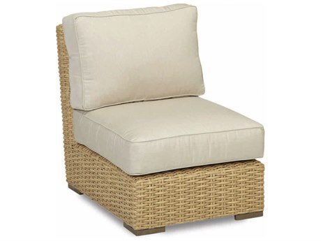 Sunset West Quick Ship Leucadia Wicker Armless Lounge Chair in Canvas Flax with Self Welt
