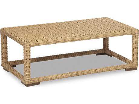 Sunset West Quick Ship Leucadia Wicker 53 x 31 Rectangular Coffee Table