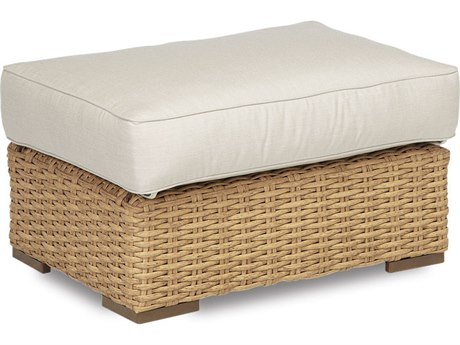 Sunset West Quick Ship Leucadia Wicker Ottoman in Canvas Flax with Self Welt