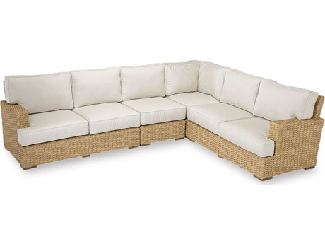 Sunset West Quick Ship Leucadia Wicker Sectional in Canvas Flax with Self Welt
