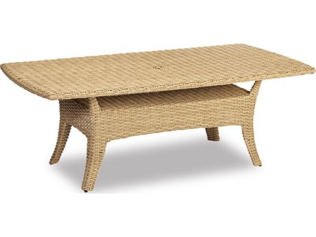 Sunset West Quick Ship Leucadia Wicker 84 x 42 Rectangular Boat-Shaped Table
