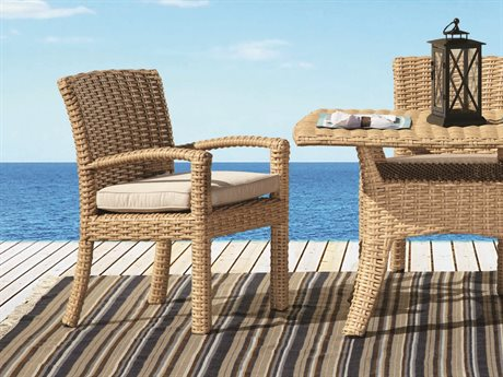 Sunset West Quick Ship Leucadia Wicker 84 Boat Shaped Rectangle Table with Dining Chairs