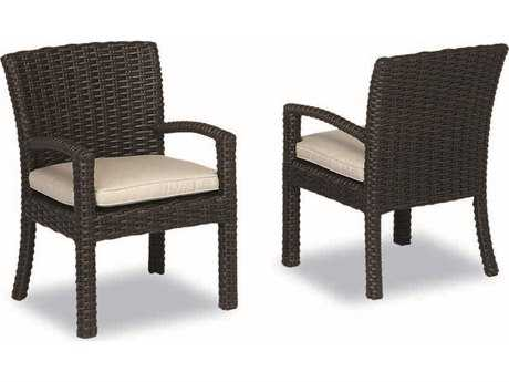 Sunset West Quick Ship Cardiff Wicker Dining Arm Chair
