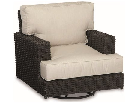 Sunset West Quick Ship Cardiff Wicker Swivel Rocking Lounge Chair in Canvas Flax with Self Welt