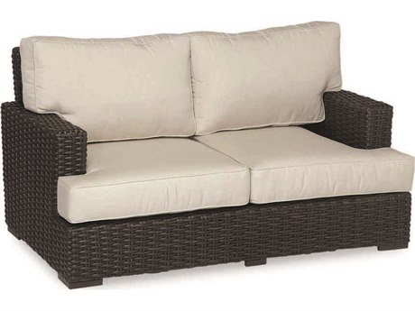 Sunset West Quick Ship Cardiff Wicker Loveseat in Canvas Flax with Self Welt