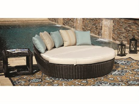 Sunset West Quick Ship Cardiff Wicker Round Daybed with End Table