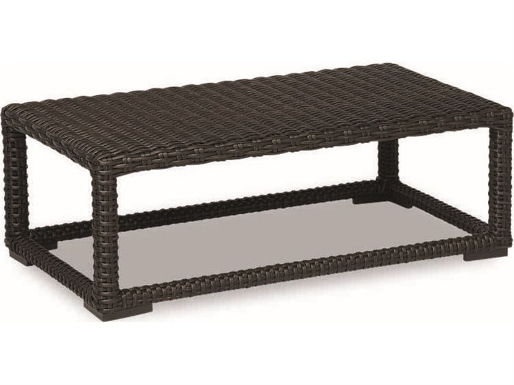 Sunset West Quick Ship Cardiff Wicker 53 x 31 Rectangular Coffee Table
