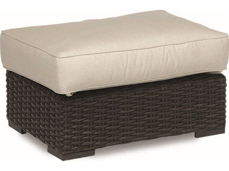 Sunset West Quick Ship Cardiff Wicker Ottoman in Canvas Flax with Self Welt