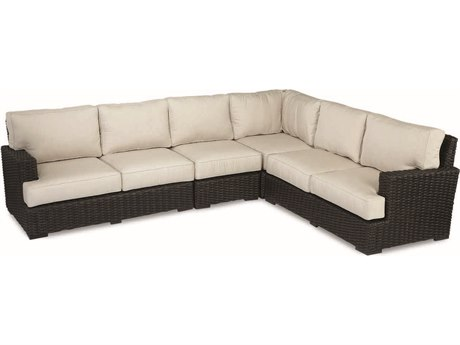 Sunset West Quick Ship Cardiff Wicker Sectional in Canvas Flax with Self Welt