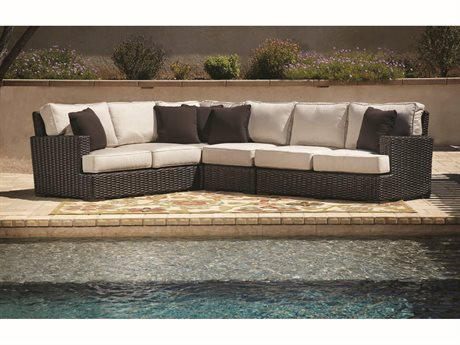 Sunset West Quick Ship Cardiff Wicker Sectional with Armless Club Chair