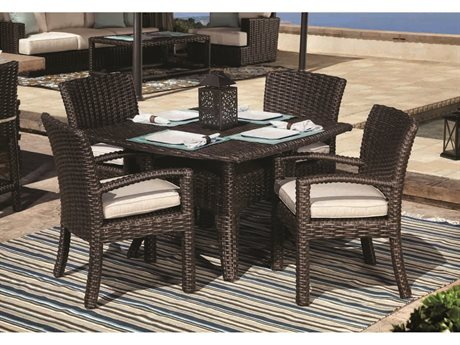 Sunset West Quick Ship Cardiff Wicker Dining Chairs with 48 Dining Table