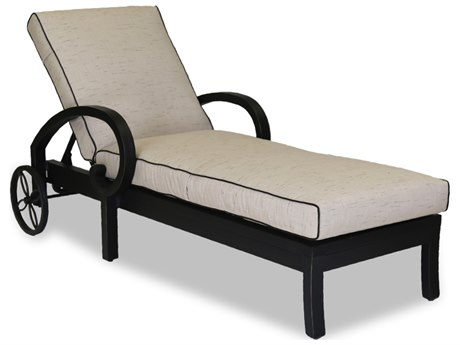 Sunset West Quick Ship Monterey Chaise Lounge in Frequency Sand with Canvas Walnut Welt