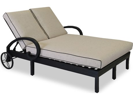 Sunset West Quick Ship Monterey Double Chaise Lounge in Frequency Sand with Canvas Walnut Welt