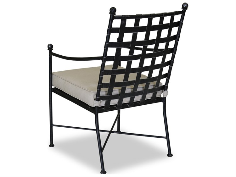 Sunset West Quick Ship Provence Wought Iron Dining Chair in Canvas Flax with Self Welt PatioLiving