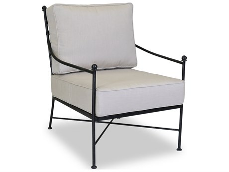 Sunset West Quick Ship Provence Wrought Iron Club Chair in Canvas Flax with self welt