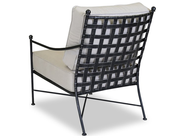 Sunset West Quick Ship Provence Wrought Iron Club Chair in Canvas Flax with Self Welt PatioLiving