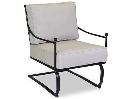 Sunset West Quick Ship Provence Wrought Iron Spring Club Chair in Canvas Flax with Self Welt