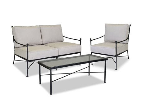 Sunset West Provence Wrought Iron Loveseat Club Chair and Coffee Table