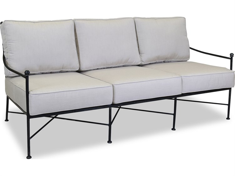 Sunset West Quick Ship Provence Wrought Iron Sofa in Canvas Flax with self welt