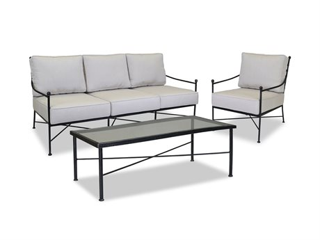 Sunset West Quick Ship Provence Wrought Iron Sofa with Club Chair and Coffee Table