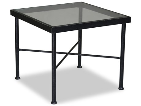 Sunset West Quick Ship Provence Wrought Iron 21 Square Glass Top End Table PatioLiving
