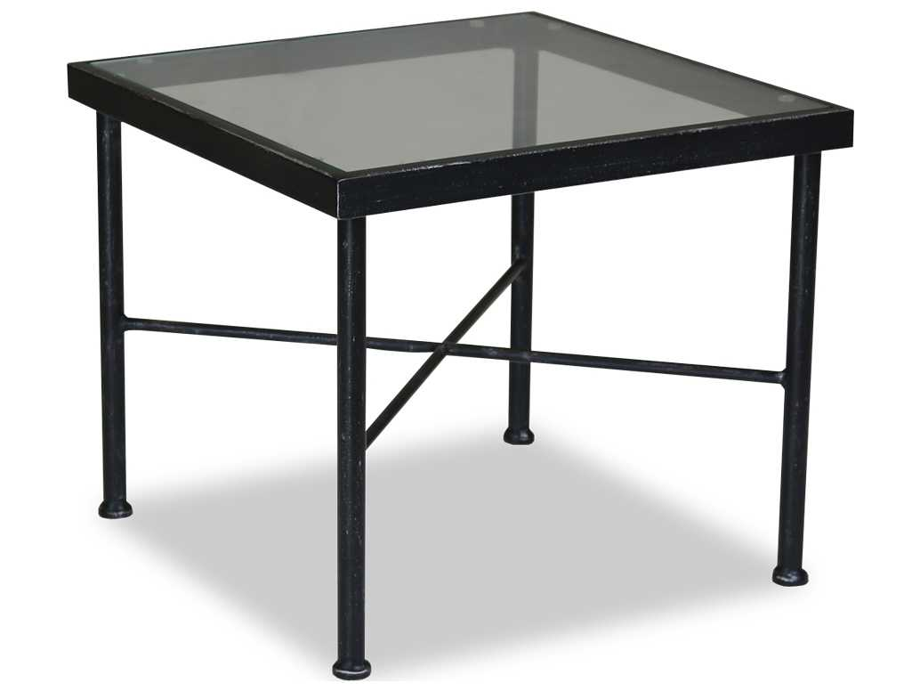 sunset west quick ship provence wrought iron 21 square glass top end table sw3201et. Black Bedroom Furniture Sets. Home Design Ideas