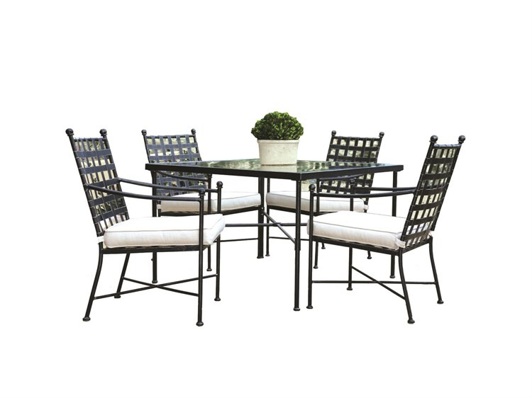 Sunset West Quick Ship Provence Wrought Iron Dining Chairs with Dining Table