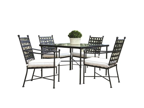 Sunset West Provence Wrought Iron Dining Chairs with Dining Table