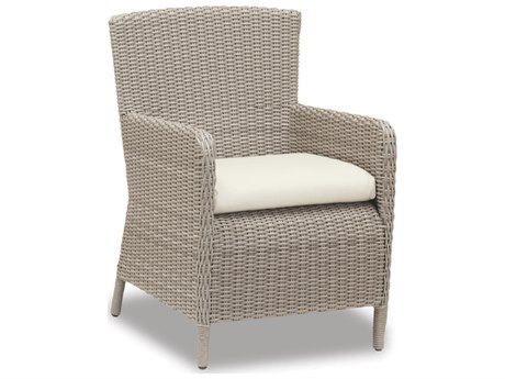 Sunset West Quick Ship Manhattan Wicker Dining Chair in Linen Canvas with Self Welt