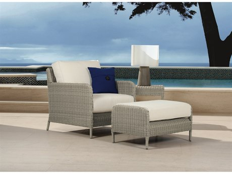 Sunset West Quick Ship Manhattan Wicker Club Chair with Ottoman and End Table in Linen Canvas