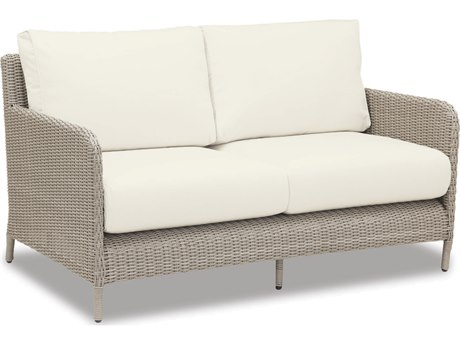 Sunset West Quick Ship Manhattan Wicker Loveseat in Linen Canvas with Self Welt