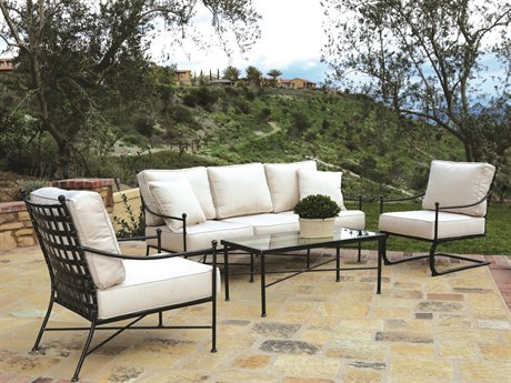 Sunset West Provence Wrought Iron Sofa with Club Chairs and Coffee Table PatioLiving