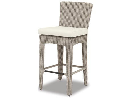 Sunset West Quick Ship Manhattan Wicker Barstool in Linen Canvas with self welt