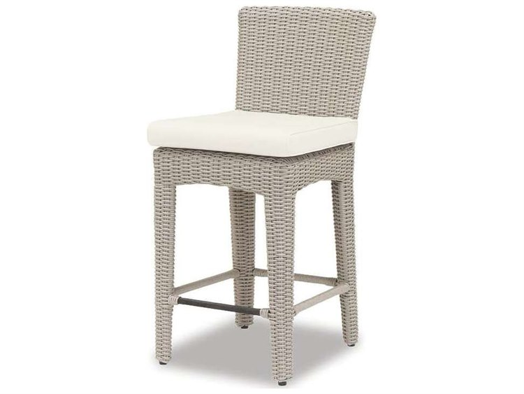 Sunset West Quick Ship Manhattan Wicker Counter Stool in Linen Canvas with self welt