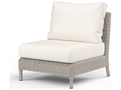Sunset West Quick Ship Manhattan Wicker Armless Club in Linen Canvas with self welt