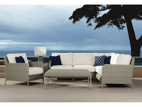 Sunset West Quick Ship Manhattan Wicker Sectional with Club Chair Coffee Table and End Table