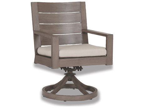 Sunset West Quick Ship Laguna Aluminum Swivel Dining Chair in Canvas Flax with Self Welt