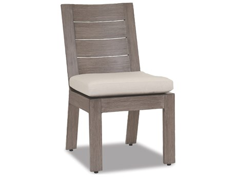 Sunset West Quick Ship Laguna Armless Aluminum Dining Chair in Canvas Flax with Self Welt