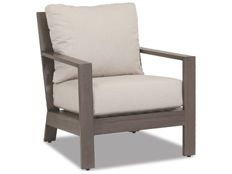 Sunset West Quick Ship Laguna Aluminum Club Chair in Canvas Flax with self welt