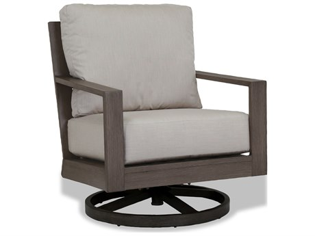 Sunset West Quick Ship Laguna Aluminum Swivel Club Rocker in Canvas Flax with Self Welt