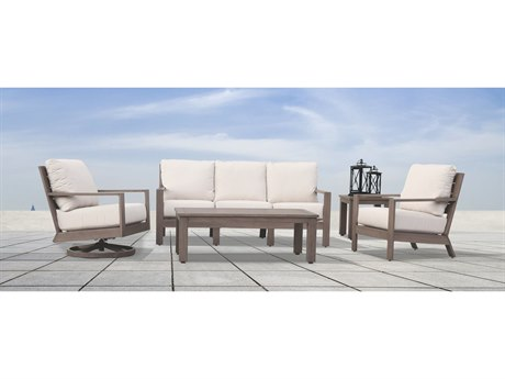 Sunset West Quick Ship Laguana Aluminum Sofa Club Chair Swivel Club and Tables