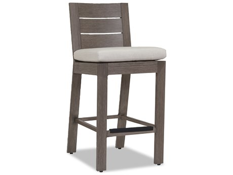 Sunset West Quick Ship Laguna Aluminum Counter Stool in Canvas Flax with self welt