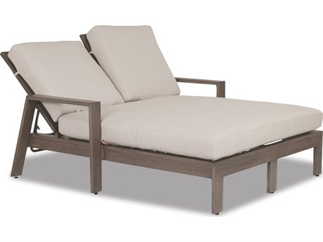 Sunset West Quick Ship Laguna Aluminum Double Chaise Lounge in Canvas Flax with Self Welt
