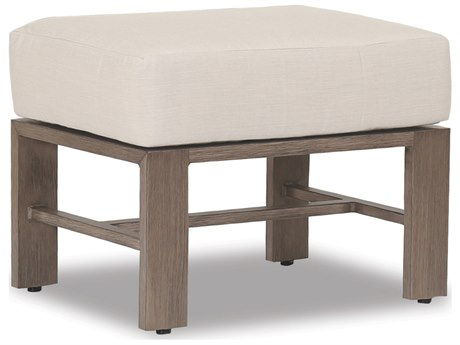 Sunset West Quick Ship Laguna Aluminum Ottoman in Canvas Flax and Self Welt